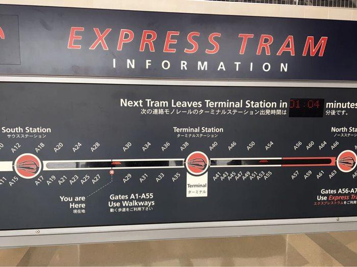デトロイト空港の掲示板